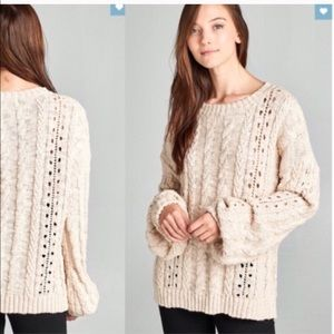 🆕 Cable Knit Chunky Oversize Sweater in oatmeal